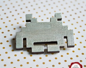Space invader brooch