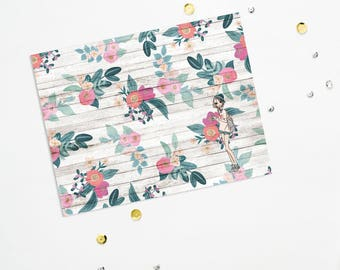 PRINTABLE Sheet - Floral Love Girl