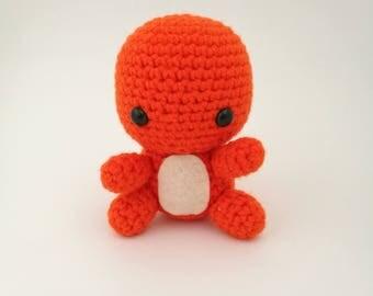 Charmander Amigurumi. Crochet Charmander, Charmander Doll, Charmander Plushie, Charmander Toy