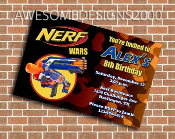 Nerf Invitations - Birthday Party Invite - Printable & Shipped