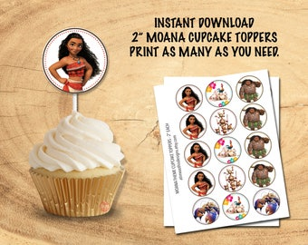 MOANA CUPCAKE TOPPERS | Instant Download! | Moana Party Decor