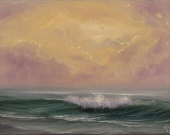 Original Sunset Oil Painting on Canvas, Ocean Art, Coastal Landscape, Water Painting, Realism, Ocean Waves, Seascape, Ocean Scene, Fine Art