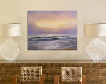 Large Realistic Ocean Oil Painting on Canvas, Seascape, Sea Painting, Original Ocean Art, Sunset Coastal Wall Art, Ocean Waves Painting