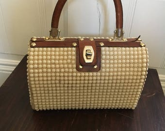 Beaded vintage top handle bag