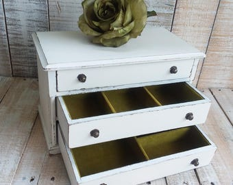 Shabby Chic Vintage Rustic Wooden Jewelry Box Painted Antique White and Distressed