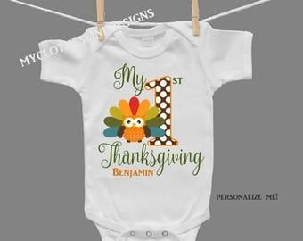 Gender Neutral Personalized First Thanksgiving Infant Bodysuit