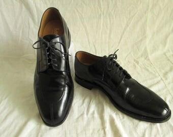 Loake mannen zwart leder Open vetersluiting Split teen Derby Dress schoenen Sz 9 UK / 9.5 U.S. / 42-43 Eur gebruikt voorwaarde