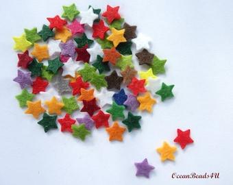 100 mix Mini Felt Stars 1 cm/ 0.4 in, Felt shape, Mini felt Stars
