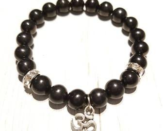 """Obsidian """"Om"""" Healing Gemstone Bracelet"""
