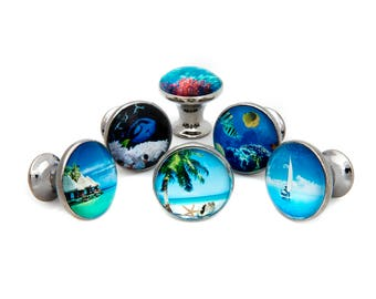Tropical Ocean Beach Theme Drawer Pulls, Cabinet Pulls, Dresser Knobs (W45) - Set of 6 Knobs