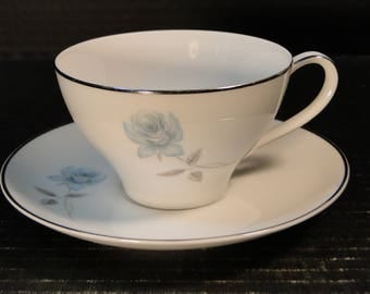 "Noritake Simone Tea Cup Saucer 6407 White Blue Rose 6 3/8"" EXCELLENT!"