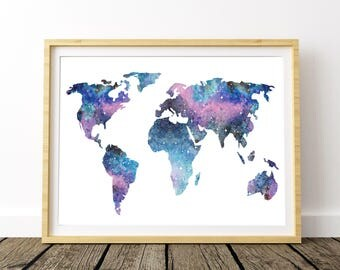 Watercolor World Map, World Map Poster, Large World Map, World Map Print, World Map Wall Art, World Printable Map, Map Of The World