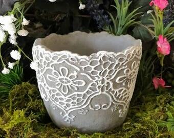 Fairy / Micro Garden Concrete White Lace Planter / Pot