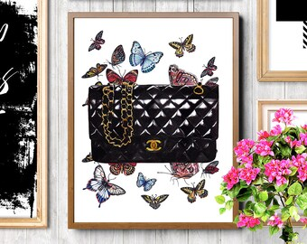 Chanel illustration, Chanel, Coco Chanel print, Chanel bag, Chanel classic bag, Fashion illustration, Fashion art print, Fashion accessories