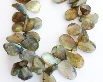"1 Strand Natural Labradorite 15-16mm  Faceted turned pear shape  Gemstone Beads 8"" long strand By SHAMSHAD GEMS"