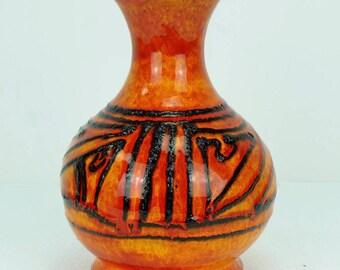 1960's walter gerhards VASE bright orange abstract black fat lava pattern 710/22