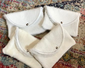 Beautiful soft solid white cowhide clutch bag!