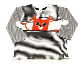 Baby deer sweater, baby t-shirt stripes deer, bamboo rayon screen-printed