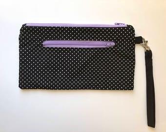 Double Zip Wristlet, pouch, wallet, swivel hook, black and white,purple, zip pouch