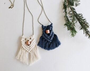 Macramé necklace, modern macrame necklace, wearable art, bohemian jewelry, boho necklace , macrame jewelry, womens gift, under 30 gift