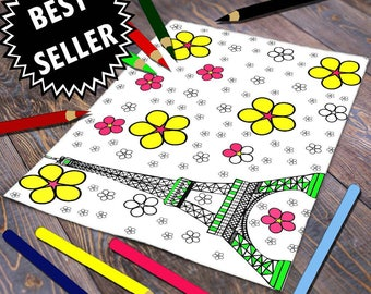 Paris Coloring Page, Eiffel Tower Design, Paris Adult Coloring, Tour Eiffel, Coloriage Digital, Eiffel Coloring Page, Eiffel Tower Print