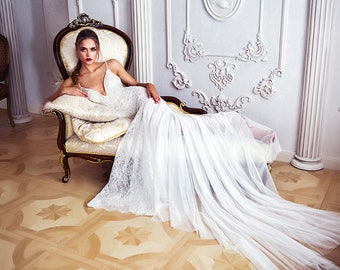 """New collection/ """"Ashli"""" gown / Bohemian Bridal dess/ Boho Wedding gown/bridal gown/ Train wedding dress"""