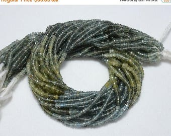 50% DISCOUNT Shaded Moss Aqua Rondelles Beads, Moss Aquamarine Gem Stone, 3.5 mm Beads, Faceted Rondelle, Gemstone Beads, 13.5 Inch Strand