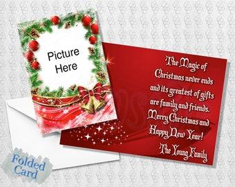 Christmas Holiday Card; Holiday Photo Card; Christmas Bells; Ornaments; Red; Green; Holly; Printed; PDF; Digital; Folded; Postcard; Shipped