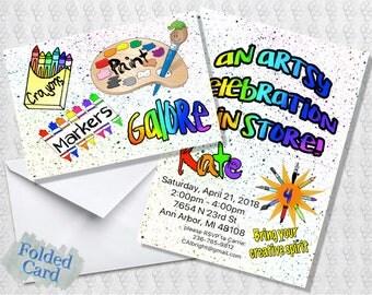 Art Invitation; Folded Card; Postcard; PDF; E-Card