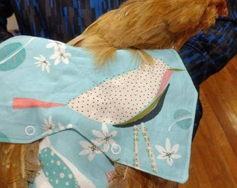 Pretty Bird Blue Denim Fabric- Chicken Apron/Saddle