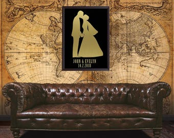 Wedding personalized gift, Couple, Wedding gift, Anniversary, Valentine's day, Marriage, Wall art, steampunk wedding