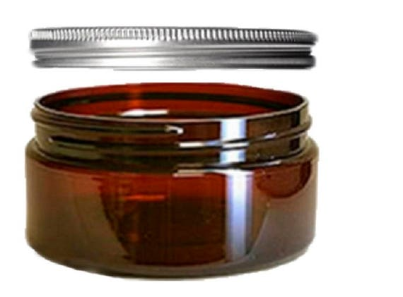 8oz Amber Plastic Jars PET Heavy Wall Low Profile Wide Mouth Jars w/ Air Tight Leak Proof Lined Aluminum Lined Lids + Spatulas Qty 1 or 4/pk