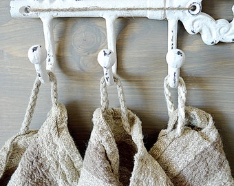 Thick striped Linen towel - Natural rough washed linen towels - Simple rustic kitchen\tea\hand towels - Heavy weight linen  towels