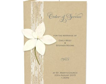 SAMPLE * Angel Orchid Order Of Service. Wedding Angel Orchid Range