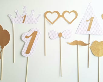 Lot 9 accessories photobooth birthday child-gold and heart pink