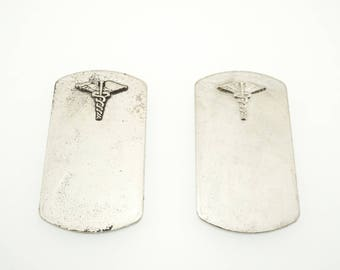 Caduceus Stamping Blank ( Doctor Stamp Blank - Medical Alert Tag - Dogtag Blank - Pewter Dog Tag - Pewter Stamping Blank - Organic Blank )
