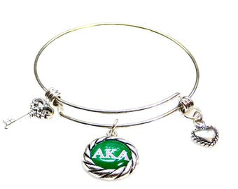 Alpha Kappa Alpha Sorority Silver Charm Bangle Bracelet AKA149