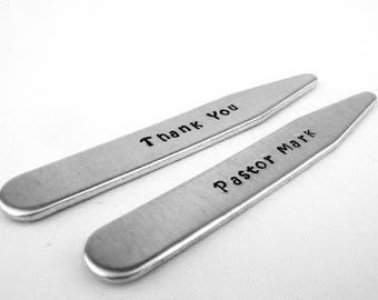 Pastor Gift, Officiant Gift for Wedding Thank You, Personalized Collar Stays, Pastor Appreciation, Minister Gift