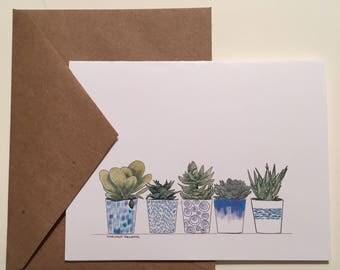 Succulent Plant Note Cards