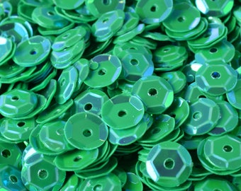 3/4/6mm Bright Green Cup Iridescent Sequins Sheen Round Sequins/Loose Paillettes,Wholesale Sequins,Shimmering Sequin Apparel