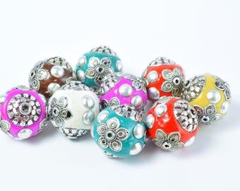 Indonesian Kashmir Clay Beads Handmade Beads 4 PCs, Bohemian Bali Style Jewelry Making Decorative Round Beads, Studded Beads,
