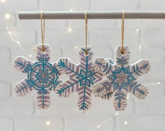 Snowflake Christmas Ornaments, Hand Painted, Set of 3