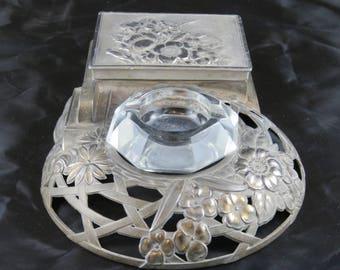 Vintage Metal Cigarette Smoking Tray Set Box Lead Crystal Ashtray Signed Medlock