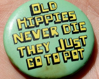 Hippie, Pot, Vintage, Pin, Button, Jewelry, Brooch, Green, Mint, Yellow, Old,