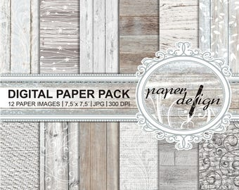 Wedding Digital Paper Rustic wood grain vintage paper wood textures printable background scrapbook paper #41