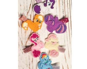 My little pony, merpony, my little pony hair clips, my little pony gift, my little pony party, my little pony birthday, seapony, mlp set