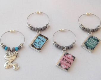 Jane Austen Book Set / Wine Charms