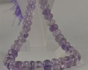 """ON SALE, Natural Pink Amethyst 7-9 mm Rondelle Faceted Loose Beads 8"""" Long Strand, Natural Pink Amethyst Faceted Loose Gemstone beads."""