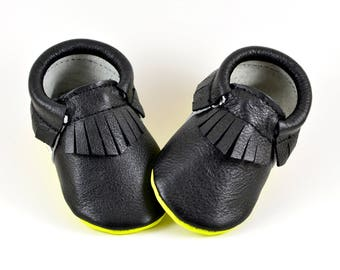 Rhapsody Baby Moccasins Handmade Genuine Leather Soft Soled Shoes Prewalker Booties Black Neon Yellow Moccs Monochrome Stipes Toddler Kids