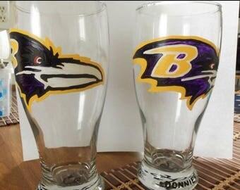 Sports team beer glasses